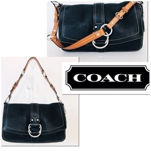 Coach Chelsea Black Pebble Leather Shoulder Bag